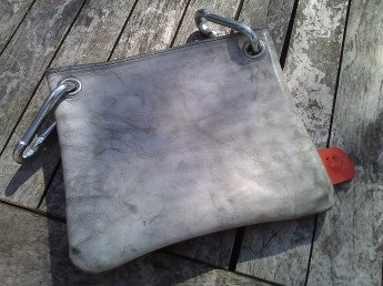 Bag#14 Handmade leather bag White wash