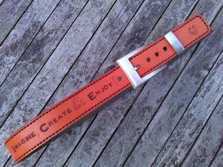Belt#5 Handmade leather belt front