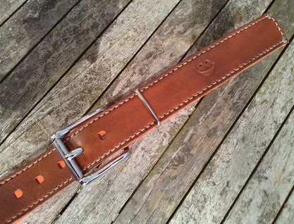 Belt#4 Handmade leather belt with a Smile