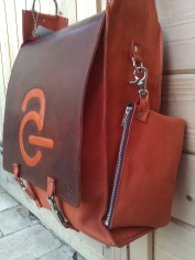 Bag#9 Handmade Leather Laptop bag with Avanade logo close up