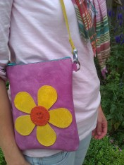 Bag#12 Handmade leather bag with Flower