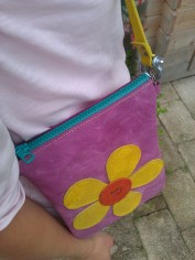 Bag#12 Handmade leather bag with Flower (top)