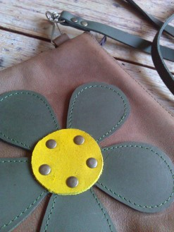 Bag#13 Brown handmade leather bag with Flower (flower detail)