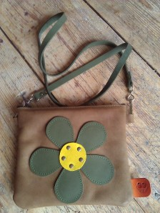 Bag#13 Brown handmade leather bag with Flower