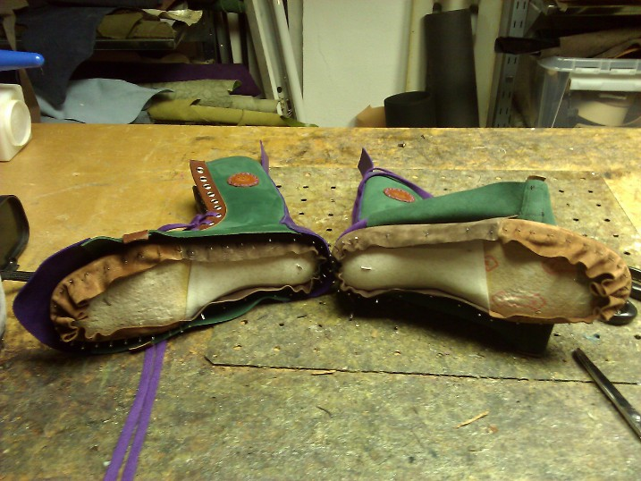 Shoes#1 ready to glue the lining to the inner sole