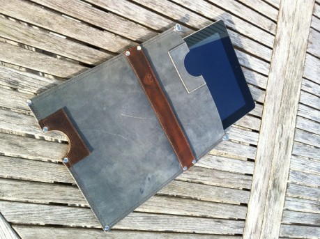 Leather iPad sleeve with iPad