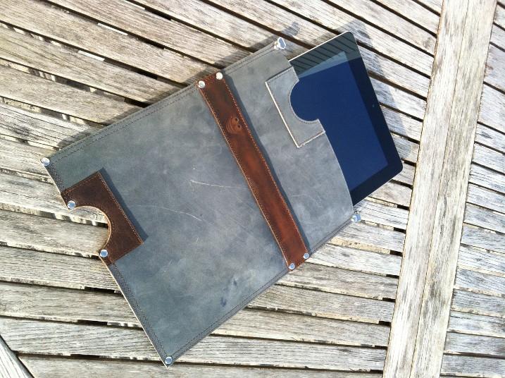 Leather iPad sleeve with iPad