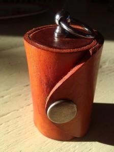 Leather Olloclip lens case brown & saddle tan