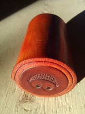 Leather Olloclip lens case brown & saddle tan with a smile