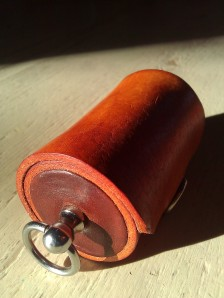 Leather Olloclip lens case brown & saddle tan