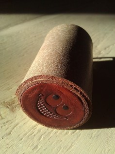 Leather Olloclip lens case brown two tone with a smile