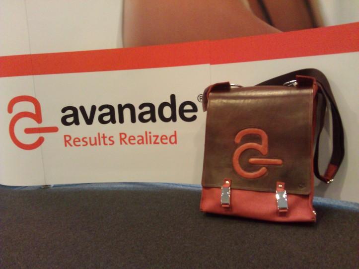 Handmade Leather laptop bag with Avanade logo