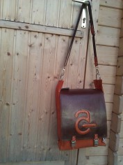 Handmade Leather Bag with Avanade Logo - front