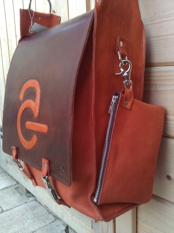 Handmade Leather Bag with Avanade Logo - side and etui