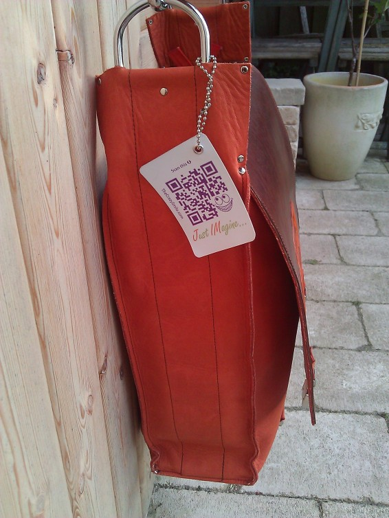 Handmade Leather Bag with Avanade Logo - side with label