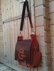 Handmade Leather Bag with Avanade Logo - side