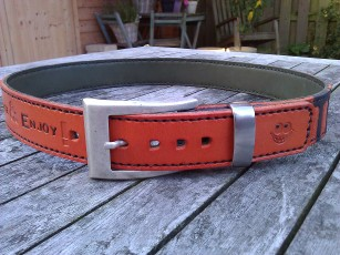 Belt#5 Handmade leather belt with a Smile