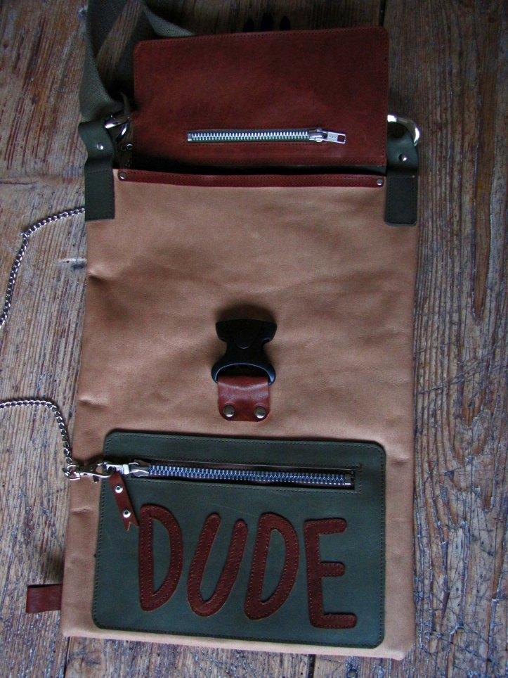 Handmade Leather Bag - Dude - Inside