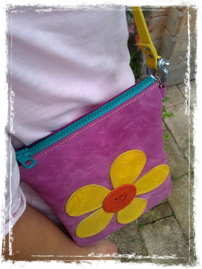 Handmade Leather Bag Purple with Flower and colorful accents
