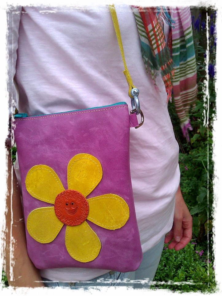 Handmade Leather Bag Purple with flower