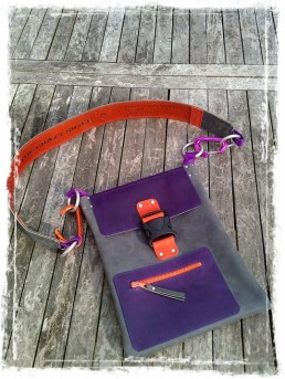 Handmade Leather Bag with TheCrazySmile and Quote on shoulder trap