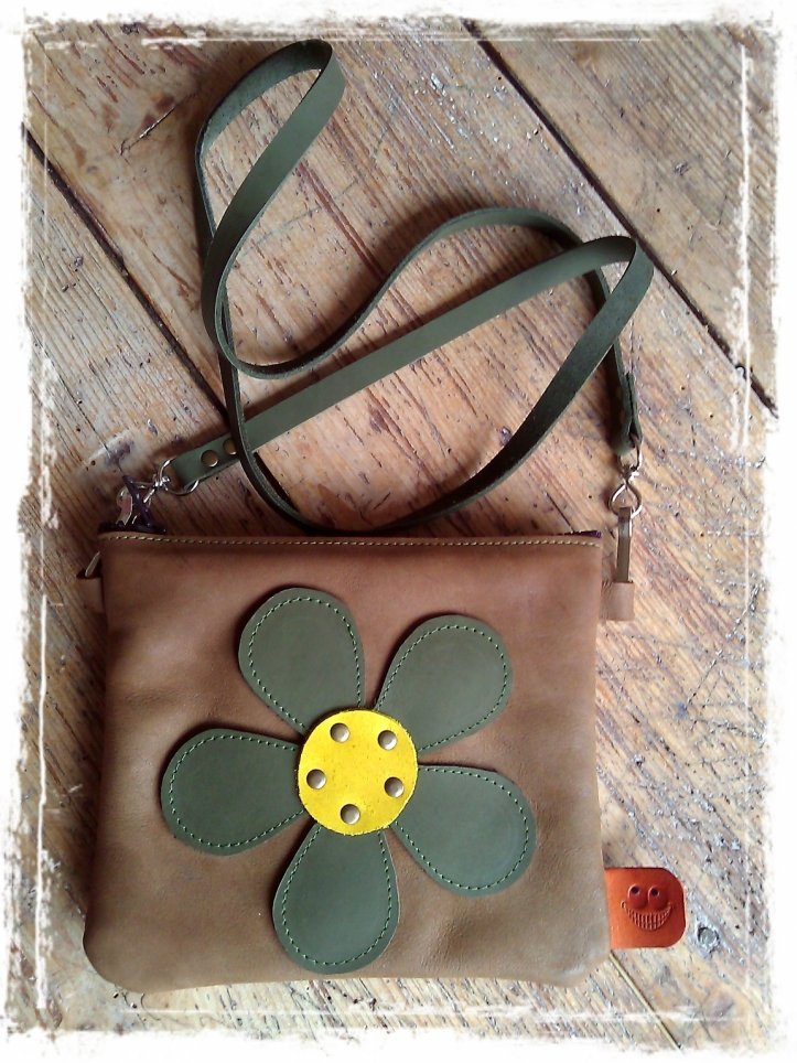 Little brown Handmade leather bag with flower