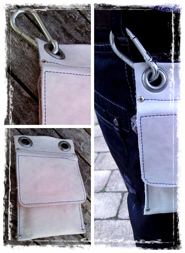 White Handmade Leather Pouch for Mobile phone