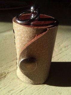 Leather Olloclip lens case brown two tone