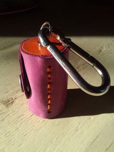 Leather Olloclip lens case purple and orange