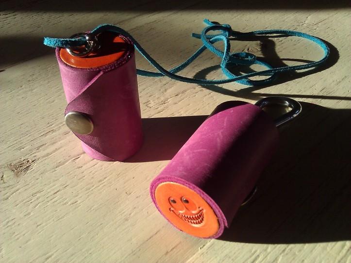 Leather Olloclip lens case purple & orange