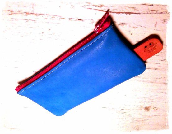 brightly colored leather etui