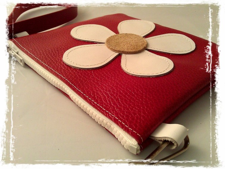 handmade red leather bag with flower power detail