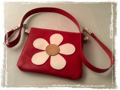 handmade red leather bag with flower power