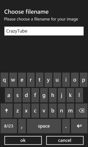 Save As for Windows Phone example