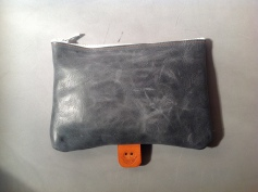 Grey Leather Pouch Front