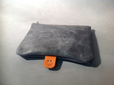 Grey Leather Pouch with TheCrazySmile logo