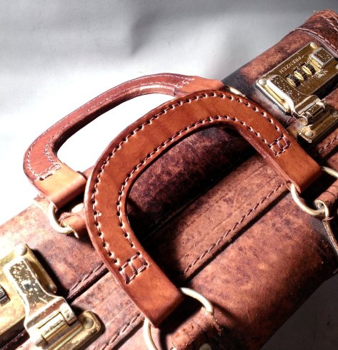 Handmade-Leather handles for a suitcase