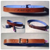 Brown and blue leather belt