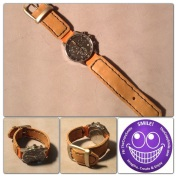 Brown and orange watch strap