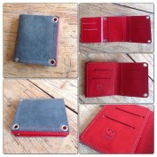 red and grey leather wallet