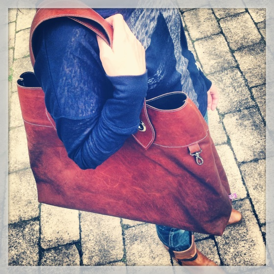 Brown Leather Bag in action