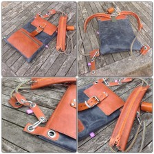 handmade leather bag grey and brown