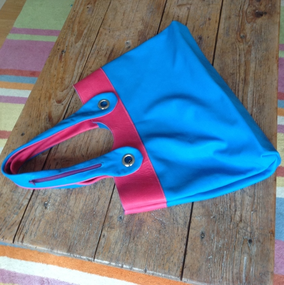Pink and Blue leather bag back