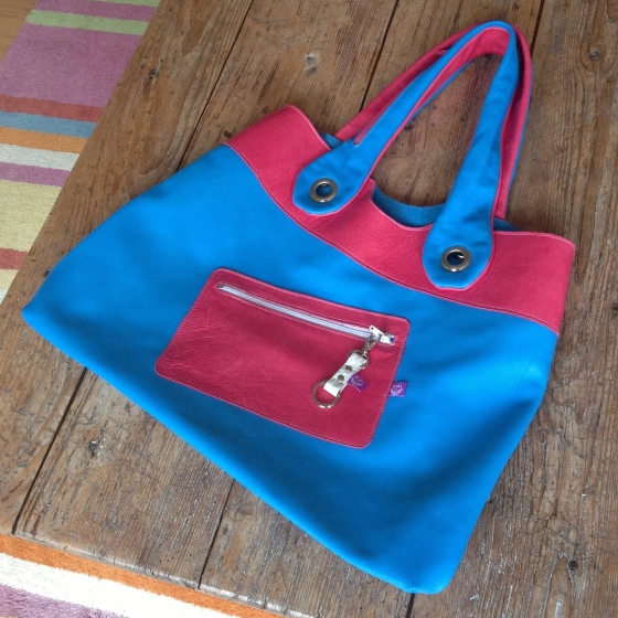 Pink and Blue leather bag front