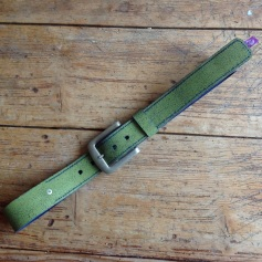 Green and Blue leather belt with wrinkle effect