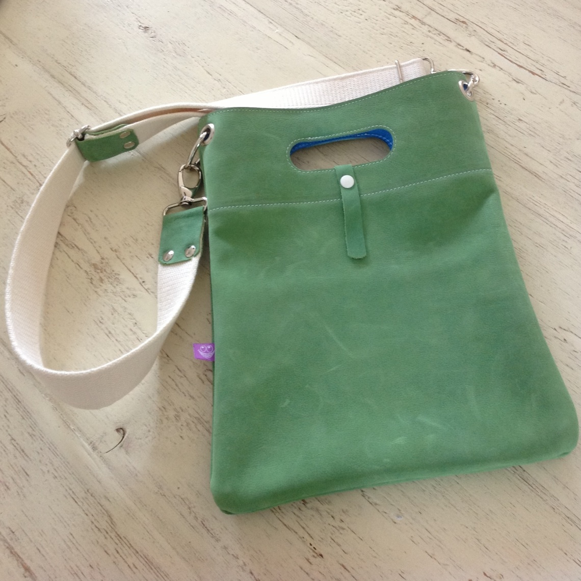 Green Leather bag Handmade