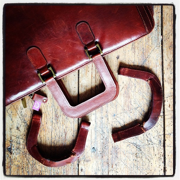 Leather bag with new handles