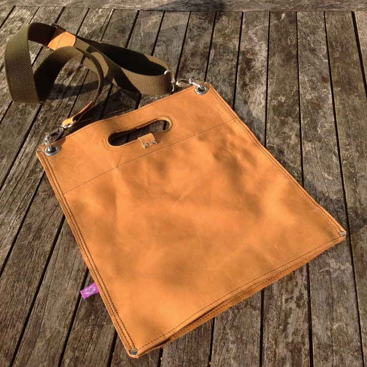Leather Bag with Out of Area Logo