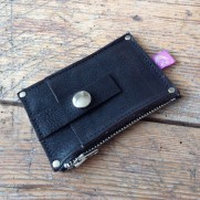 small leather wallet for coins and cards