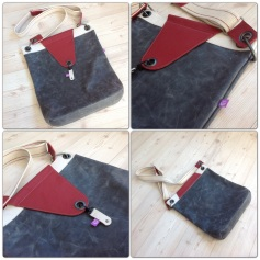 Leather Bag Grey Red and White